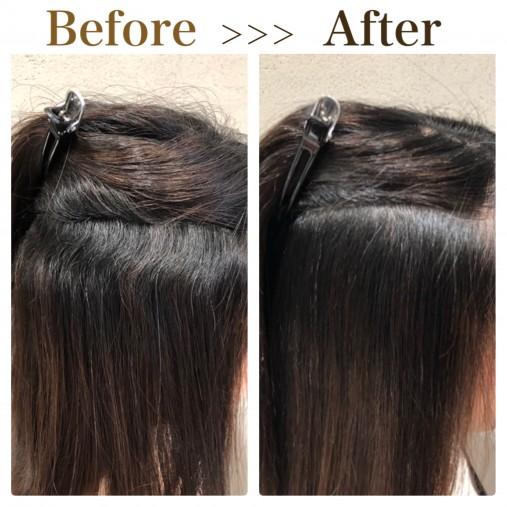 波状毛を縮毛矯正で綺麗に伸ばす