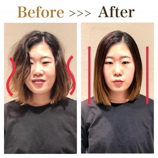 縮毛矯正をした時の丸顔の見え方の違い