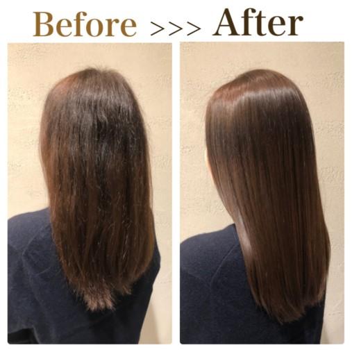 縮毛矯正でくせ毛をサラサラストレートにした画像